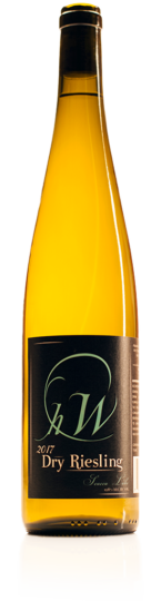 bottle of HWC dry riesling white wine