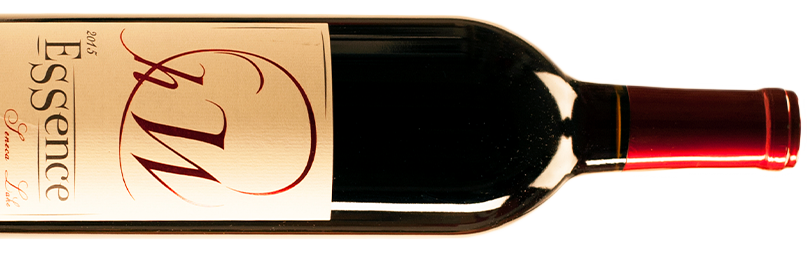 A bottle of Hector Wine Company Essence red wine, turned sideways