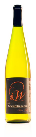 bottle of HWC gewurztraminer white wine