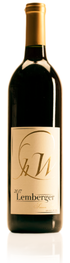 bottle of HWC Lemberger red wine