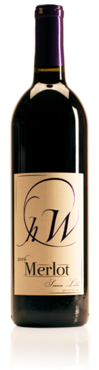 bottle of HWC merlot red wine