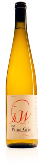 bottle of HWC pinot gris white wine