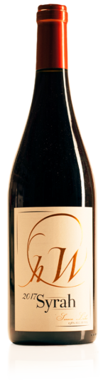 bottle of HWC syrah red wine
